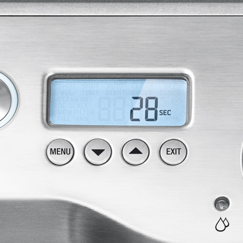 the Dynamic Duo™ Espresso Machine In Brushed Stainless Steel LCD Dsiplay