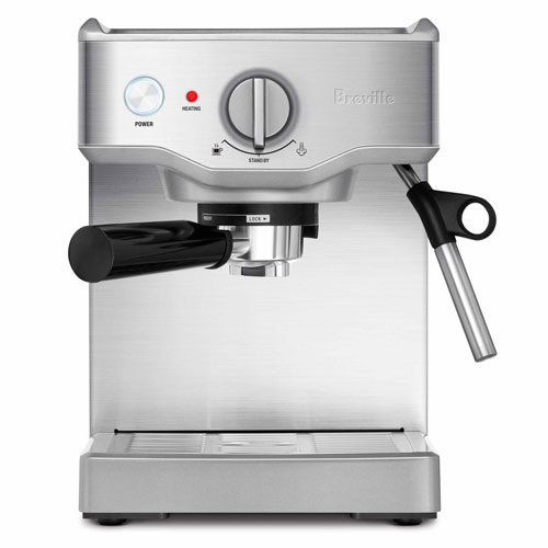 the Compact Cafe Espresso Machine in Brushed Stainless Steel steam wand