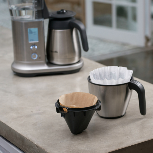 the Breville Precision Brewer™ Thermal coffee machine in brushed stainless steel dual filter baskets