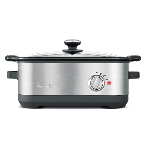 the Slow Cooker with EasySear™ Cookers In Brushed Stainless Steel die cast aluminum easy sear cooking