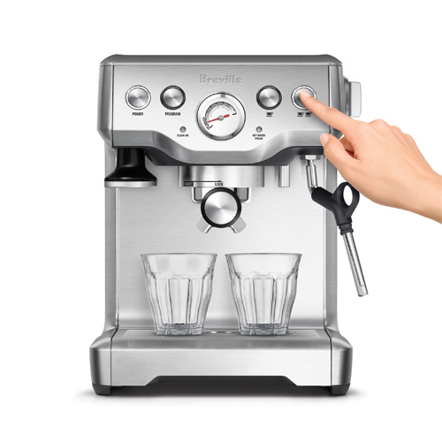 the Infuser Espresso In brushed stainless steel volumetric control